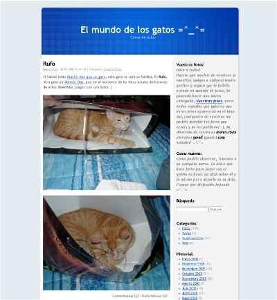 Blog el mundo de los gatos, captura de pantalla