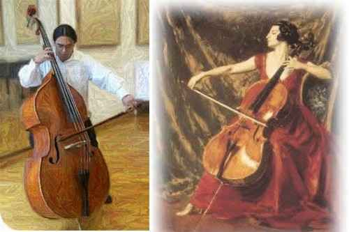 Músicos tocando el violoncello