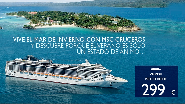 Buque de MSC Cruceros en cartel de promocion