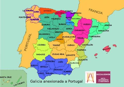 Mapa politico de España y Portugal